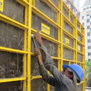 Hammer is the only tool required for installing framed formwork frami Eco at site