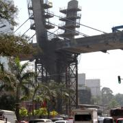 Mumbai's first metro line is currently under construction. At one point, a bridge takes the new route across the city's busy Western Express Highway.