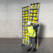 The feather-light universal aluminium framed formwork DokaXlight allows for crane-free handling by one person. <br />  <br /> Photo: DokaXlight.jpg <br /> Copyright: Doka