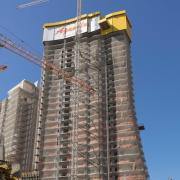 Doka Self-climbing formwork systems decrease the necessity of crane, saves time and money. Copyright: Doka