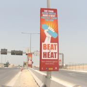 In a highly visible effort, campaign banners in four languages were erected along major bus routes of Lusail City sites