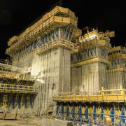 Power plant construction during a night shift. Photo: Doka