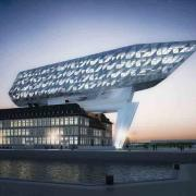 "With its light reflections, the new head office of the port authority, the ""New Port House"" designed by Zaha Hadid Architects pays homage to Antwerp as the centre of the diamond trade. Photo: Zaha Hadid Architects"