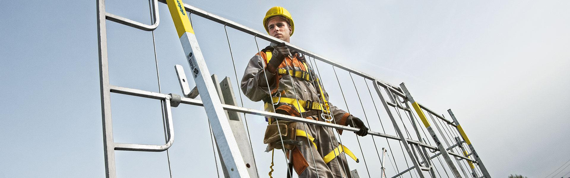 worker handling edge protection system XP