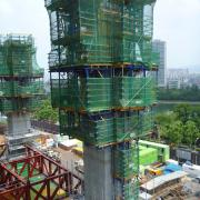 The solid-cross-section mega-columns will give the skyscraper additional stability and safety.