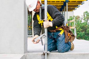 Worker with guardrail system